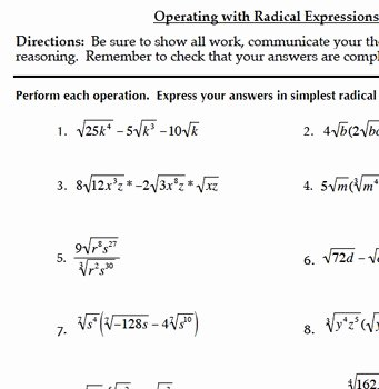 Radicals and Rational Exponents Worksheet Lovely Radical Functions & Rational Exponents Bundle Mon Core