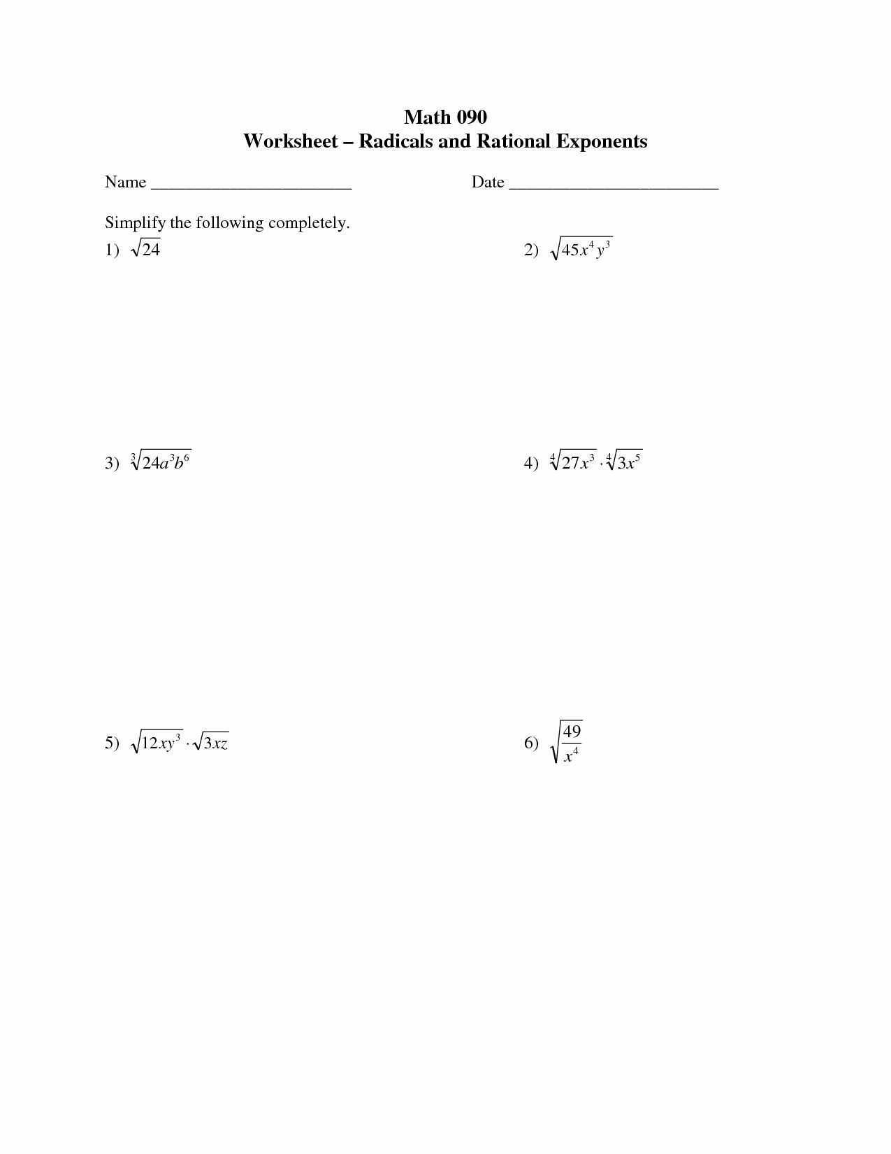 Radicals and Rational Exponents Worksheet Unique 17 Best Of Algebra 1 Radicals Worksheet 7th Grade