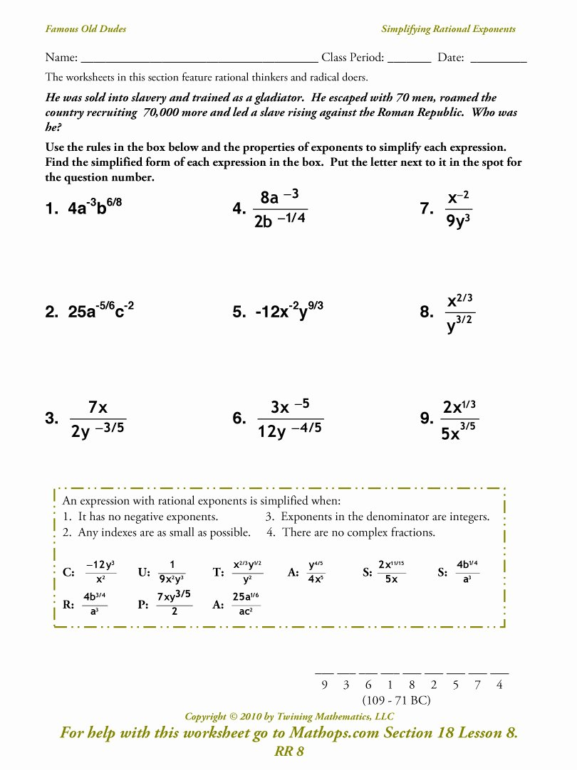 Radicals and Rational Exponents Worksheet Unique Rr 8 Simplifying Rational Exponents Mathops