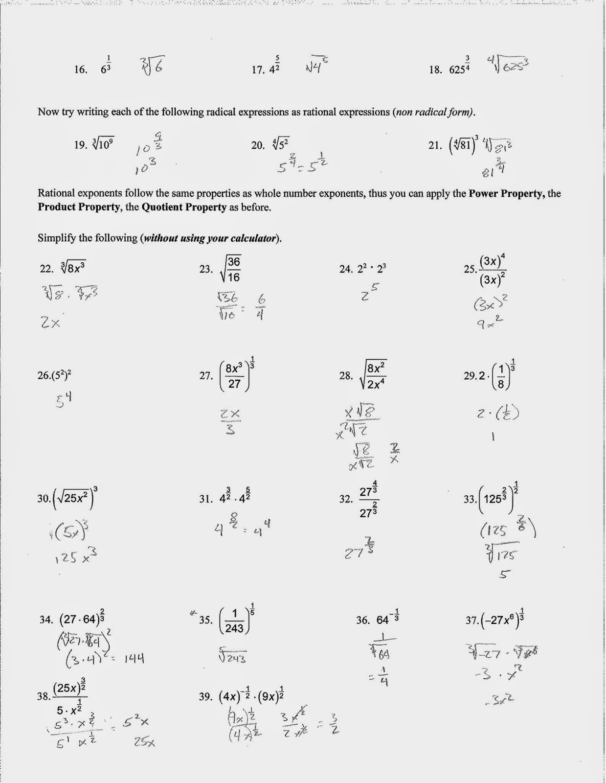 Radicals and Rational Exponents Worksheet Unique Simplifying Radical Expressions Worksheet Algebra 1