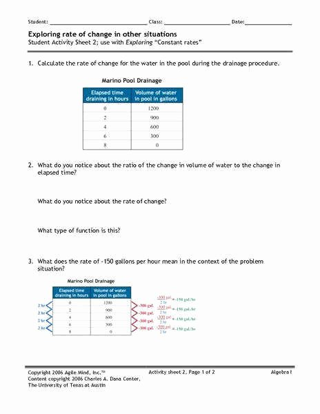 Rate Of Change Worksheet Elegant Constant Rate Change Worksheet