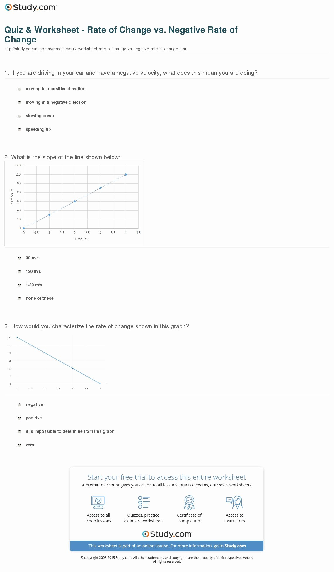 Rate Of Change Worksheet Elegant Quiz & Worksheet Rate Of Change Vs Negative Rate Of
