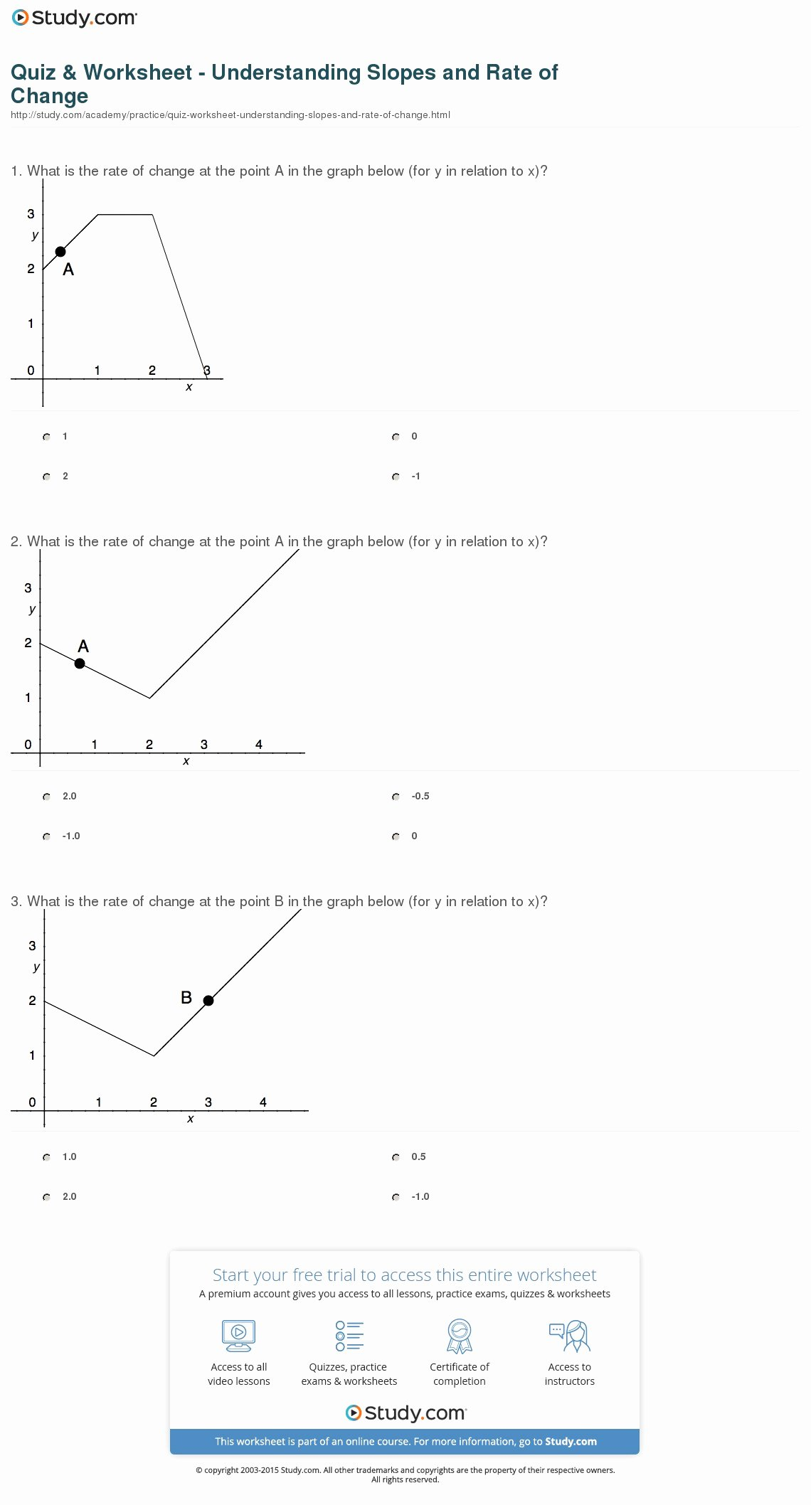 Rate Of Change Worksheet Fresh Quiz & Worksheet Understanding Slopes and Rate Of Change