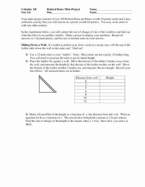 Rate Of Change Worksheet Inspirational Related Rates Worksheet