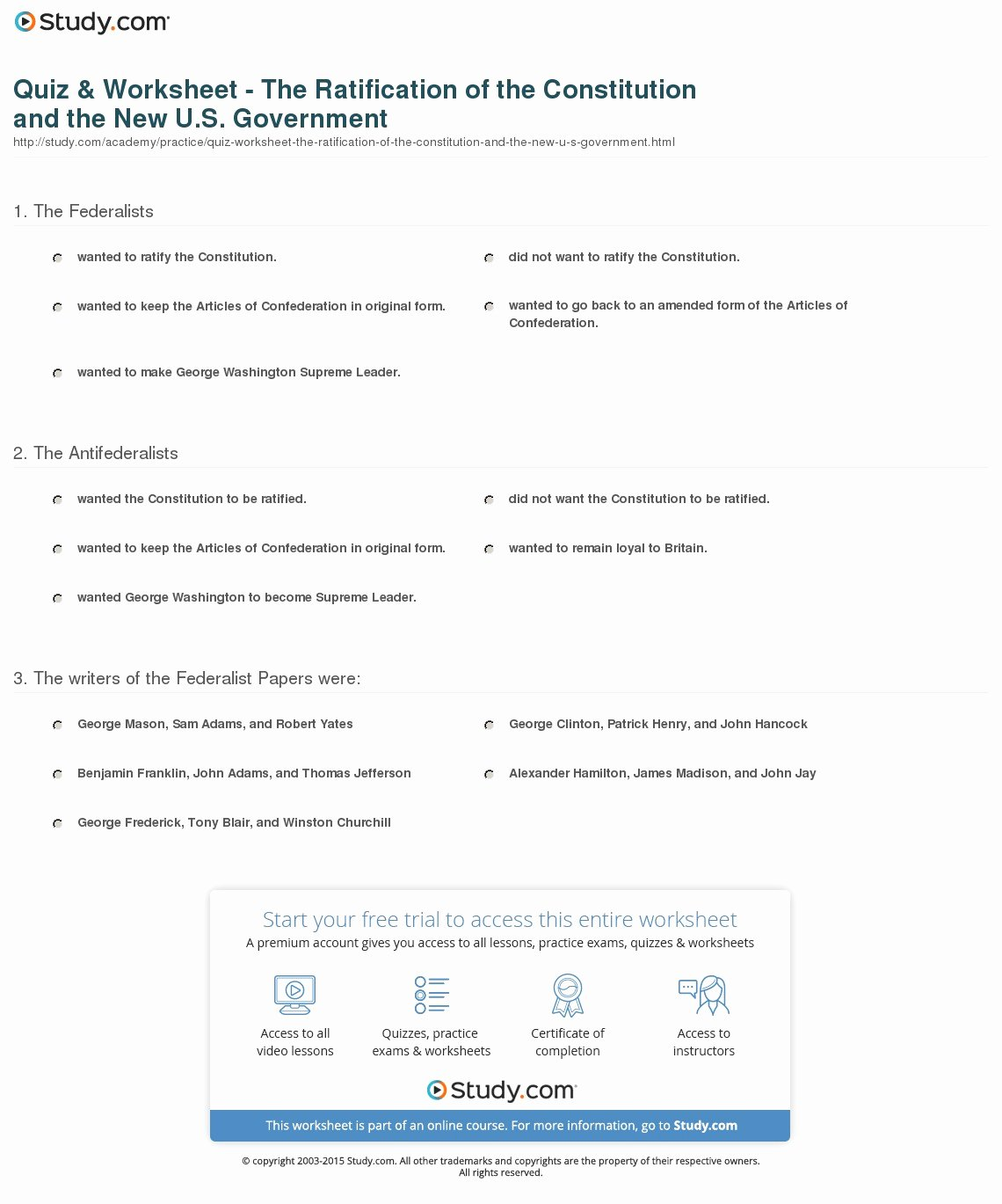 Ratifying the Constitution Worksheet Answers Beautiful Quiz & Worksheet the Ratification Of the Constitution