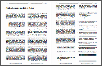Ratifying the Constitution Worksheet Answers Elegant Ratification and the Bill Of Rights Reading with Questions
