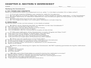 Ratifying the Constitution Worksheet Answers Fresh Ratifying the Constitution 8th 12th Grade Worksheet
