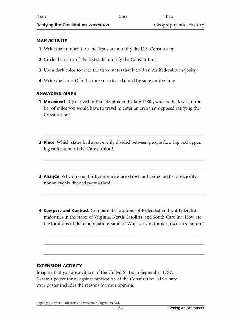 Ratifying the Constitution Worksheet Answers Inspirational the Birth Constitution Worksheet Answer Key Math