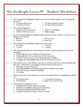 Ratifying the Constitution Worksheet Answers Inspirational We the People the Citizen and the Constitution Lesson 14