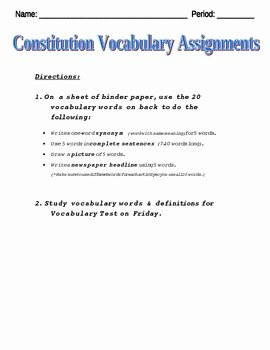 Ratifying the Constitution Worksheet Answers Luxury Constitution Vocabulary Practice Worksheet by Monica