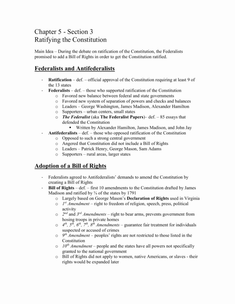 Ratifying the Constitution Worksheet Answers Luxury Cool Chapter Section Ratifying the Constitution Part Of