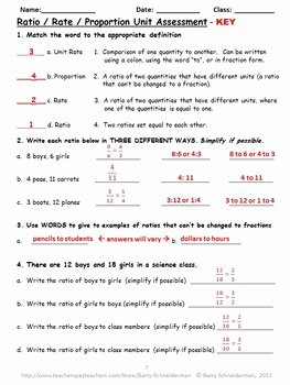Ratio and Proportion Worksheet Pdf Awesome Ratio Rate and Proportion Unit assessment by Barry
