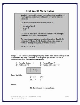 Ratio and Proportion Worksheet Pdf Inspirational Real World Ratios and Proportions Worksheets Pre Algebra