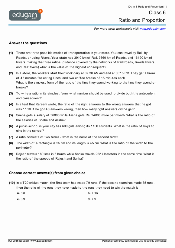 Ratio and Proportion Worksheet Pdf New Grade 6 Math Worksheets and Problems Ratio and Proportion