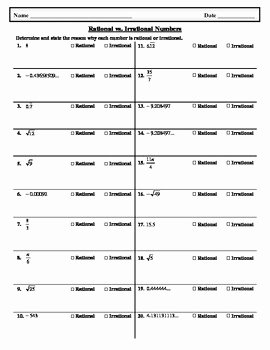 Rational and Irrational Numbers Worksheet Best Of Rational Vs Irrational Numbers Worksheet by Hsarchimedes