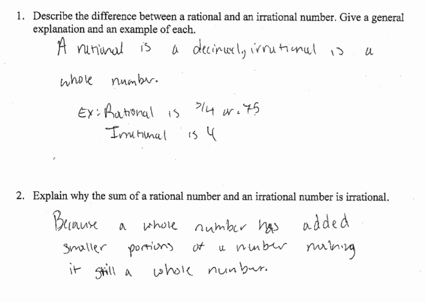 Rational and Irrational Numbers Worksheet Best Of Sum Of Rational and Irrational Numbers