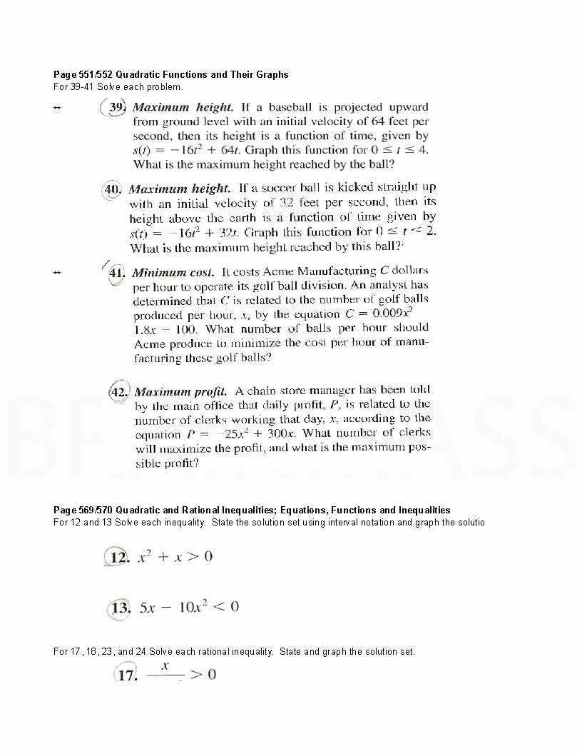 Rational Equations Word Problems Worksheet Fresh Quadratic Equations Graphs Rational Inequalities and