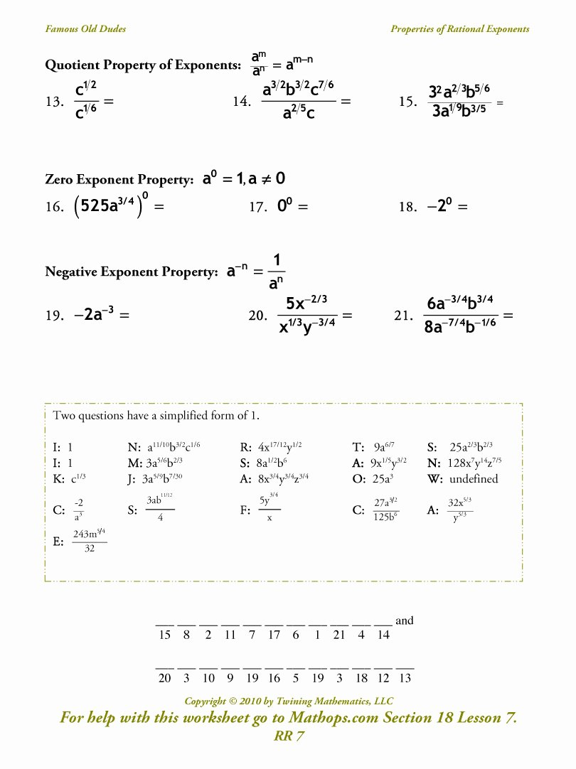 Rational Exponents and Radicals Worksheet Awesome Rr 7 Properties Of Rational Exponents Mathops