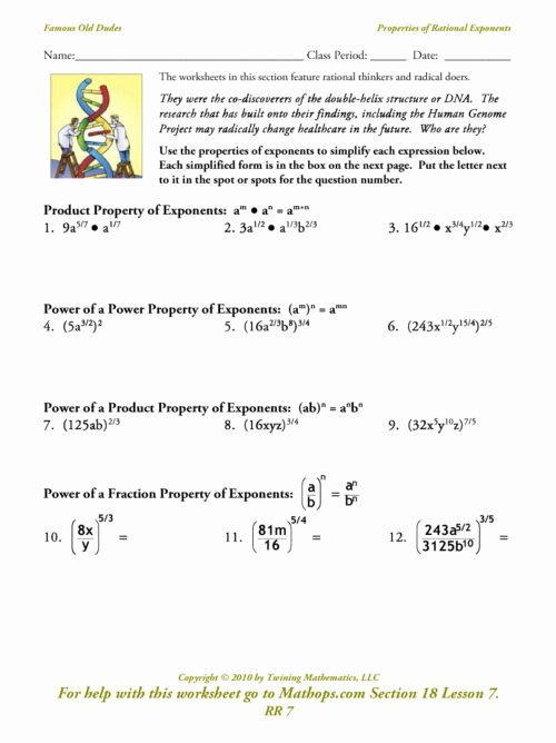 Rational Exponents and Radicals Worksheet Beautiful Radicals and Rational Exponents Worksheet Funresearcher