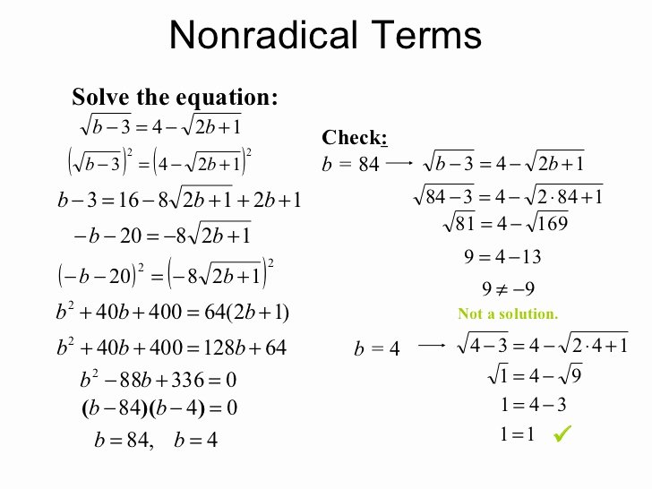 Rational Exponents and Radicals Worksheet Beautiful solving Square Root Equations Calculator