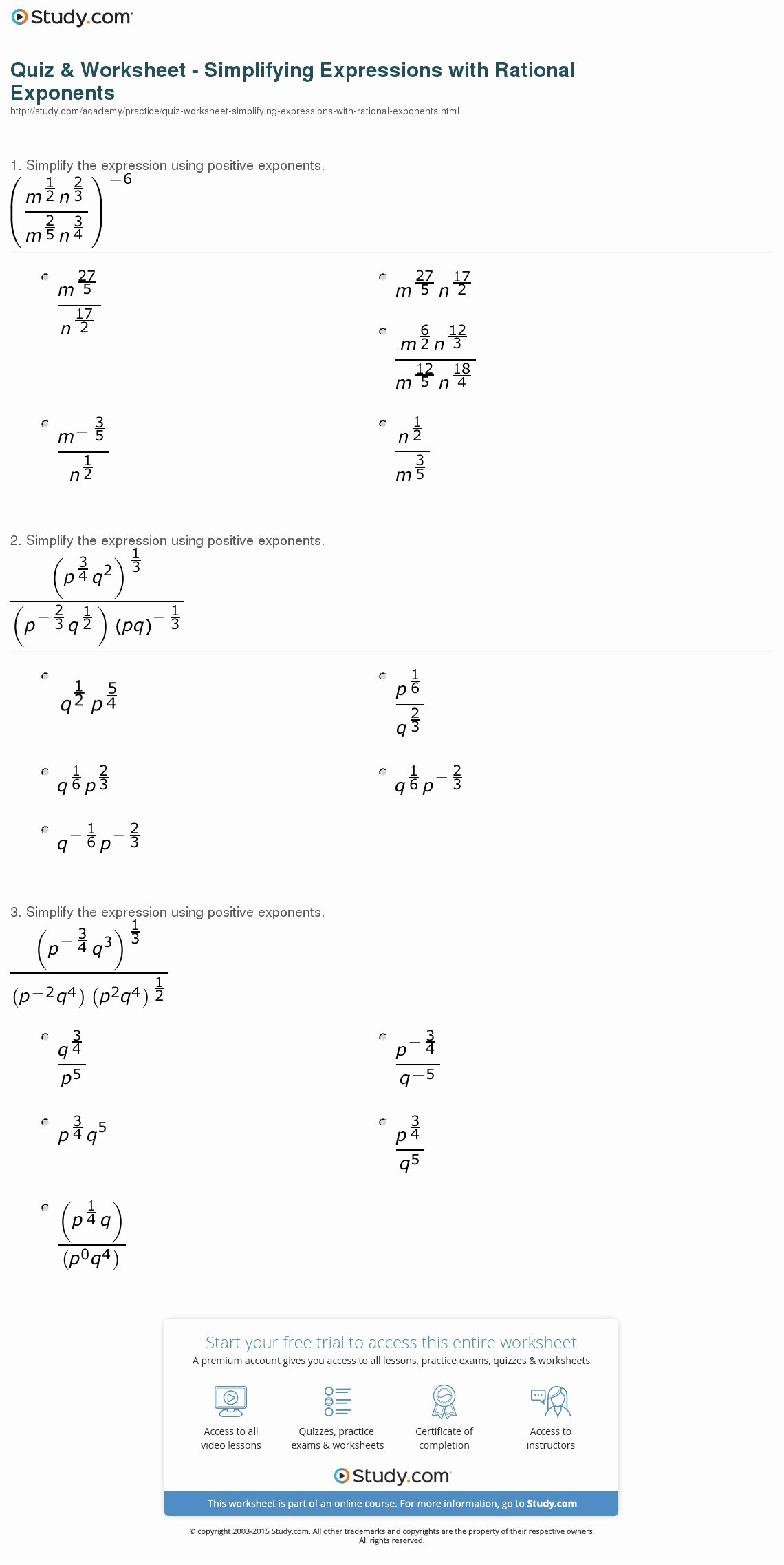 Rational Exponents and Radicals Worksheet Elegant Quiz & Worksheet Simplifying Expressions with Rational
