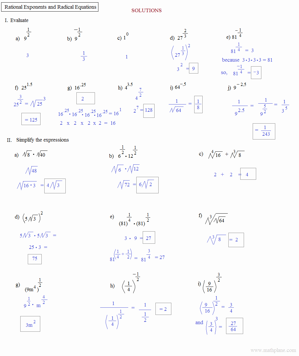 Rational Exponents and Radicals Worksheet Lovely solving Rational Exponent Equations Worksheet Answers