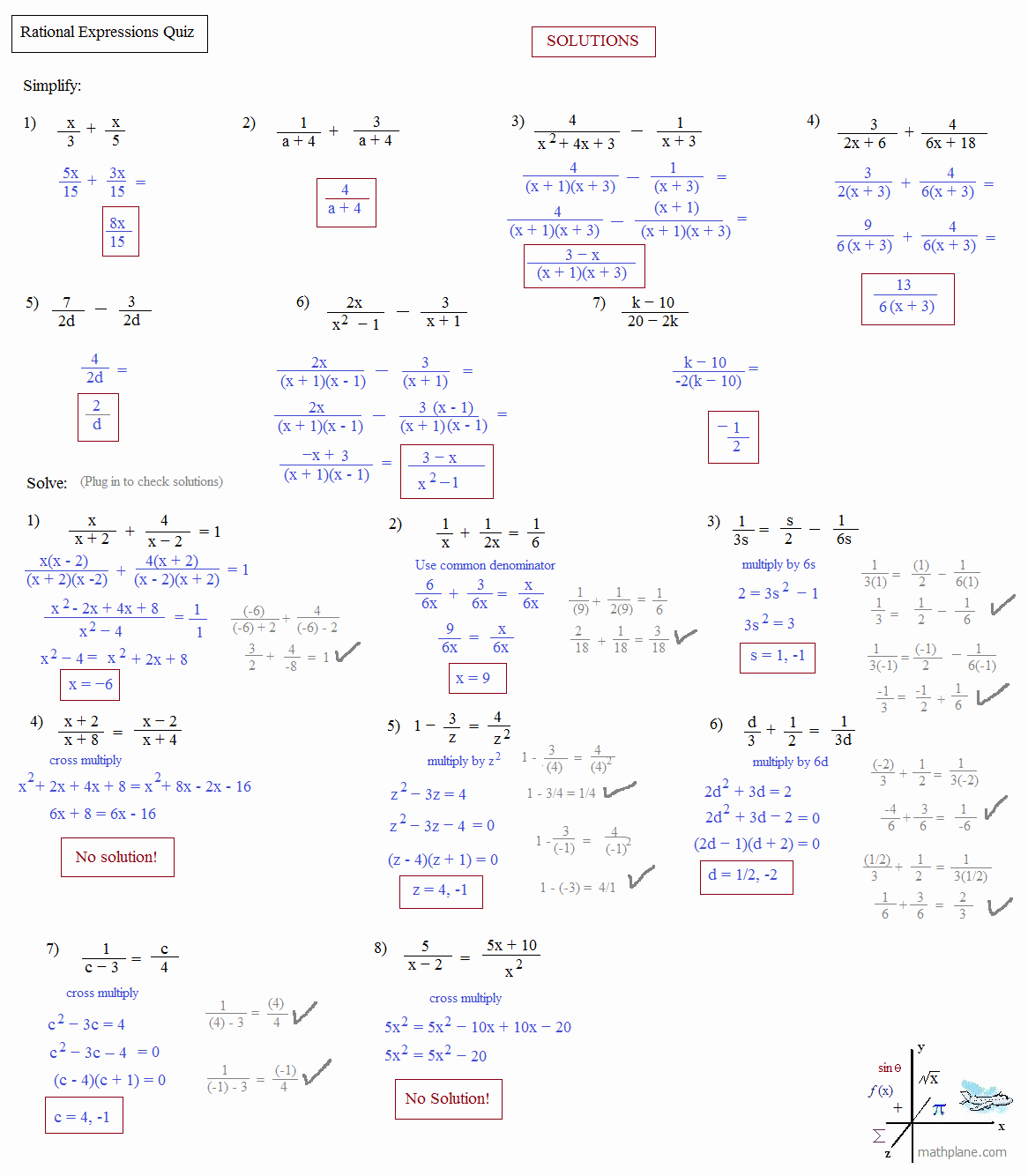 Rational Expressions Worksheet Answers Beautiful Math Plane solving Rational Equations