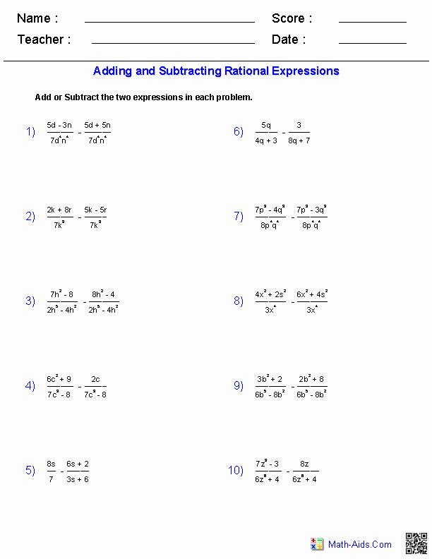 Rational Expressions Worksheet Answers Elegant Algebra 1 Worksheets