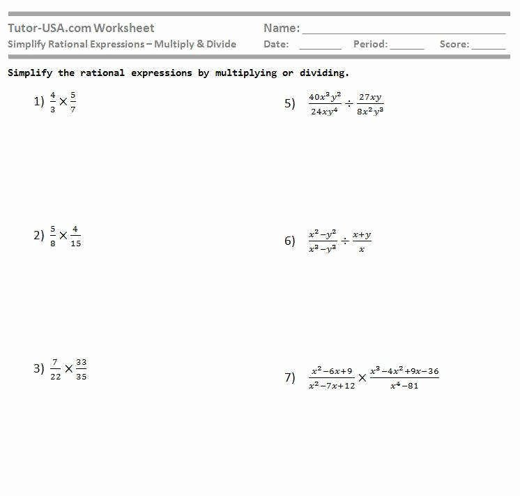 Rational Expressions Worksheet Answers Lovely Dividing Rational Expressions Worksheet
