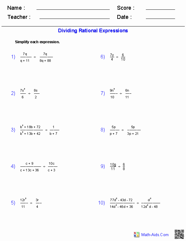 Rational Expressions Worksheet Answers New Algebra 1 Worksheets