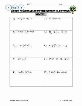 Rational Irrational Numbers Worksheet Luxury order Of Operations with Rational Numbers Worksheet by
