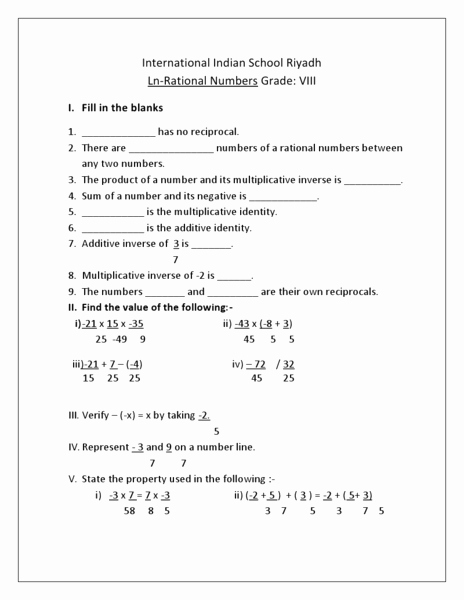 Rational Irrational Numbers Worksheet Unique Rational Numbers Grade 8 International Indian School