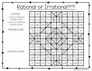 Rational Irrational Numbers Worksheet Unique Rational or Irrational Coloring Worksheet Free by Math In