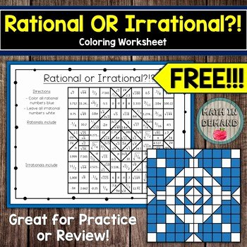 Rational or Irrational Worksheet Beautiful Rational or Irrational Coloring Worksheet Free by Math In
