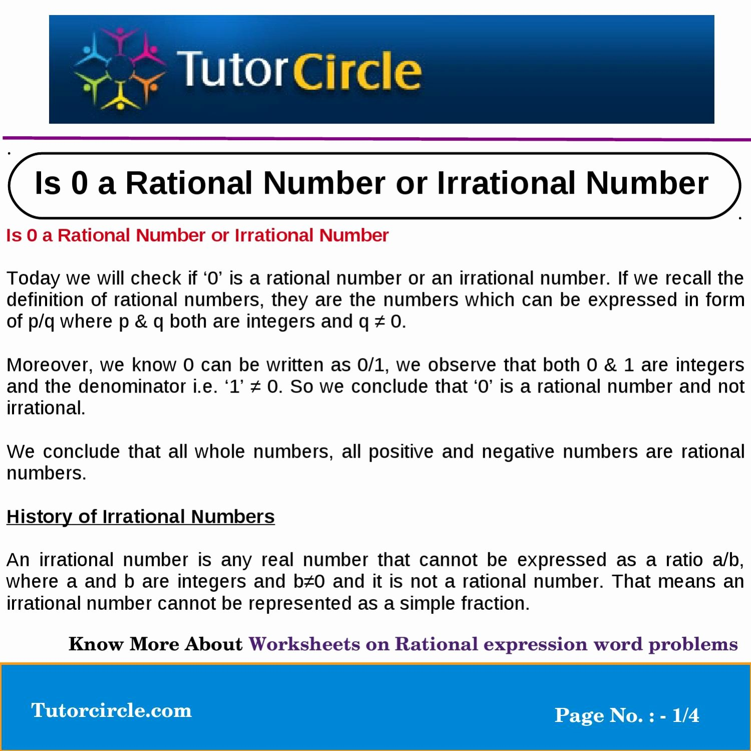 Rational or Irrational Worksheet Elegant is 0 A Rational Number or Irrational Number by Tutorcircle