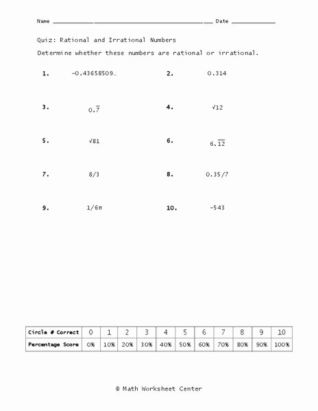 Rational or Irrational Worksheet Inspirational Rational and Irrational Numbers Worksheet for 8th 9th