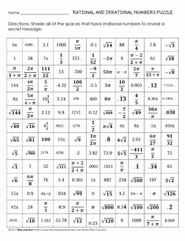 Rational or Irrational Worksheet Lovely Identify Rational and Irrational Numbers Worksheet the