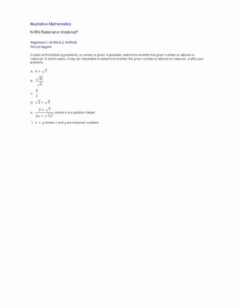 Rational or Irrational Worksheet Lovely Use Properties Of Rational and Irrational Numbers High