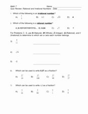 Rational or Irrational Worksheet Luxury Quiz Review Rational and Irrational Numbers 7th 9th