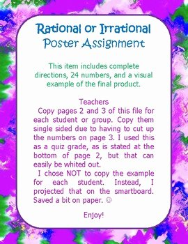Rational Vs Irrational Numbers Worksheet Beautiful Rational Vs Irrational Numbers Poster Activity by