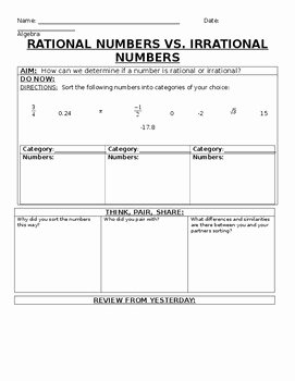 Rational Vs Irrational Numbers Worksheet Inspirational Rational and Irrational Numbers Worksheet 8th Grade Pdf