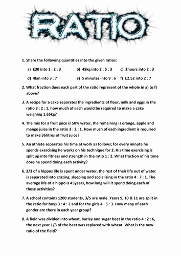 Ratios and Proportions Worksheet New Ratio Worksheet by Tj2807