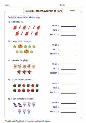 Ratios and Rates Worksheet Awesome Part to Part Ratio with Pictures