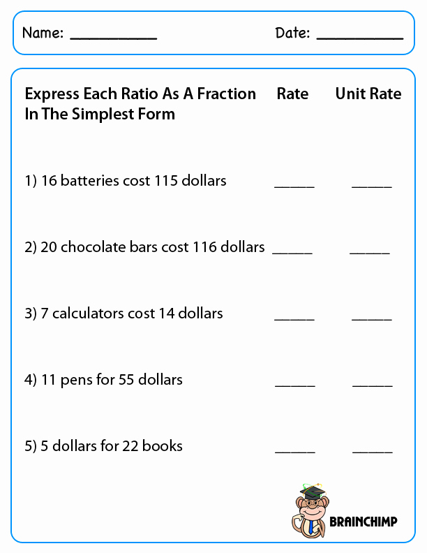 Ratios and Rates Worksheet Unique Ratio