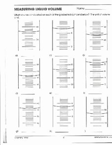 Reading A Graduated Cylinder Worksheet New Reading A Graduated Cylinder Lesson Plans & Worksheets