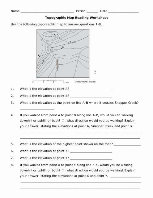 Reading A Map Worksheet Awesome Reading topographic Maps Worksheet