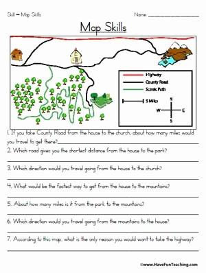 Reading A Map Worksheet Beautiful Map Skills Worksheet