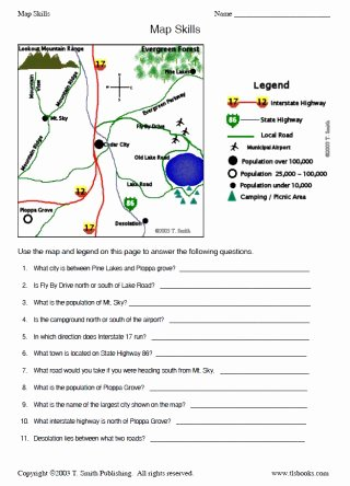 Reading A Map Worksheet Elegant Map Skills Worksheet 2