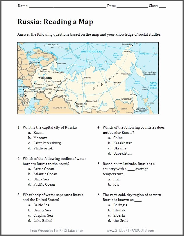 Reading A Map Worksheet Elegant Russia Free Printable Map Worksheet