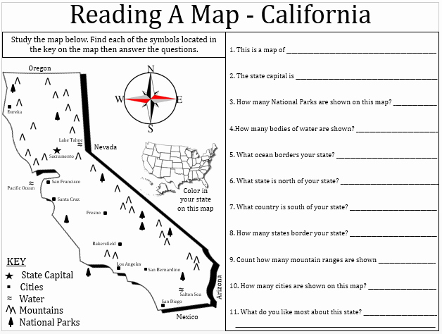 Reading A Map Worksheet Fresh Empowered by them California Map Lesson